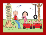 Outdoor Family Cartoon Picture  with 5 Kids- Personalized 8655