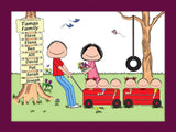 Outdoor Family Cartoon Picture  with 6 Kids- Personalized 8656