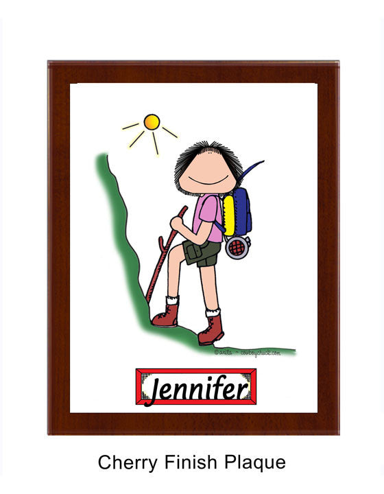 Hiker Plaque Personalized Female 8661