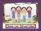 Friends / Sisters Cartoon Picture 4 Females Personalized 8667