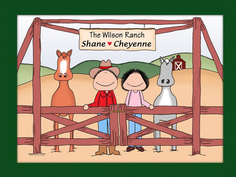 Rancher Couple Cartoon Picture - Horses