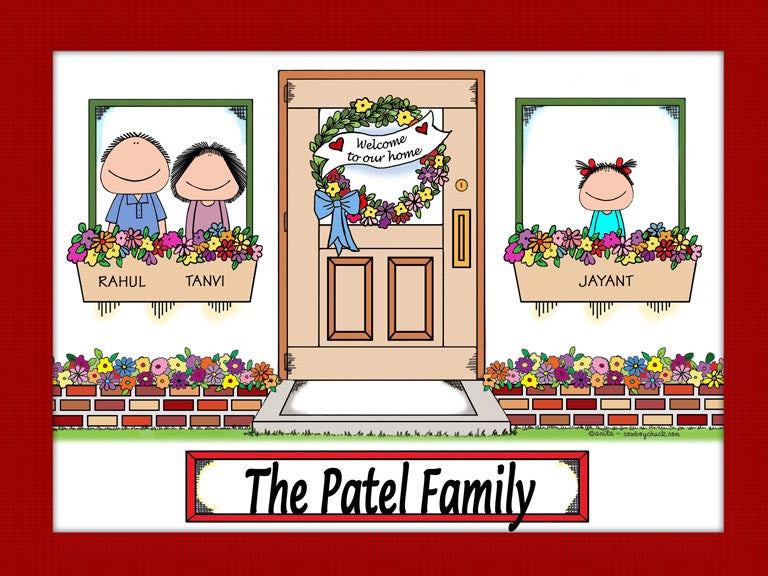 New Home Family Cartoon Picture