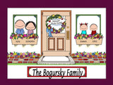 New Home with 2 Kids Cartoon Picture - Personalized 8672