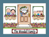 New Home with 3 Kids Cartoon Picture - Personalized 8673