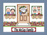 New Home with 4 Kids Cartoon Picture - Personalized 8674