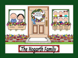 New Home with 6 Kids Cartoon Picture - Personalized 8676