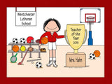 Physical Ed Teacher Cartoon Picture Female - Personalized 8679
