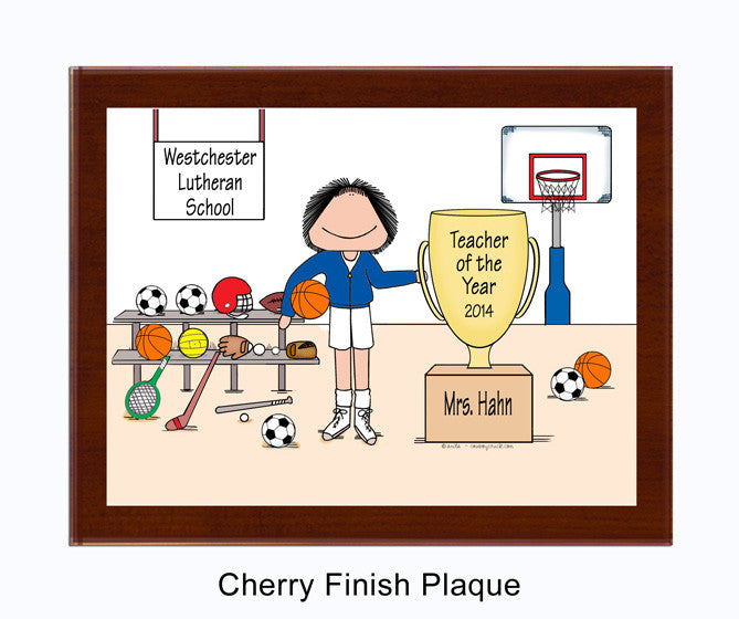 Physical Ed Teacher, PE Plaque Female - Personalized