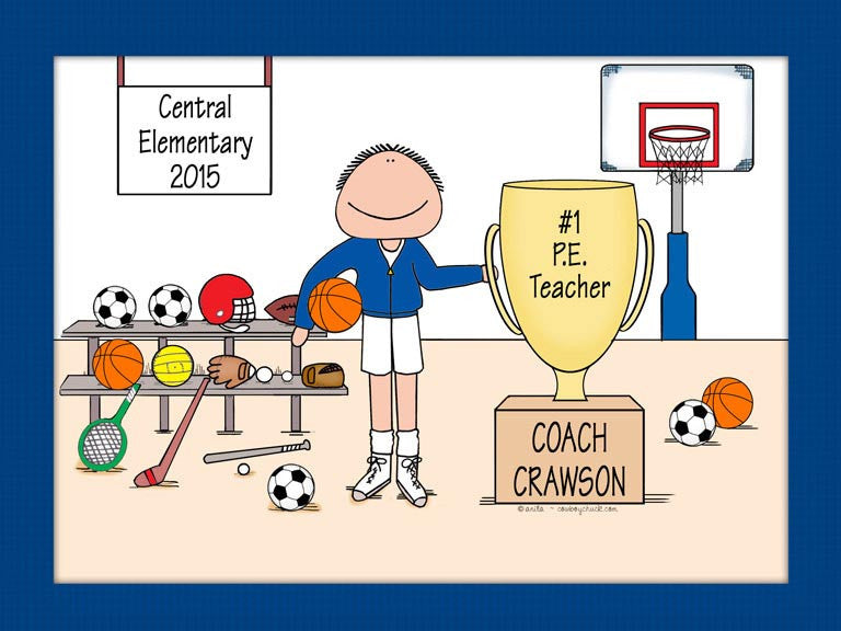 Physical Ed Teacher Cartoon Picture Male - Personalized 8680