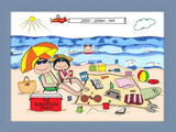 Beach Family Cartoon Picture with 1 Kid - Personalized 8681