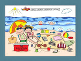 Beach Family Cartoon Picture with 2 Kids - Personalized 8682