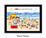 Beach Family Plaque 2 Kids - Personalized
