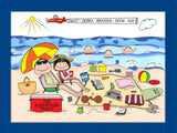 Beach Family Cartoon Picture with 3 Kids - Personalized 8683