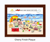 Beach Family Plaque 3 Kids - Personalized