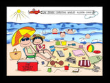 Beach Family Cartoon Picture with 4 Kids - Personalized 8684