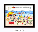 Beach Family Plaque 4 Kids - Personalized