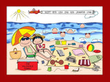 Beach Family Cartoon Picture with 5 Kids - Personalized 8685