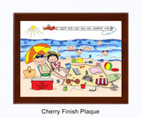 Beach Family Plaque 5 Kids - Personalized