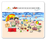 Beach Family Mouse Pad Personalized with 5 Kids