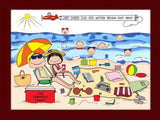 Beach Family Cartoon Picture with 6 Kids - Personalized 8686