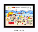 Beach Family Plaque 6 Kids - Personalized