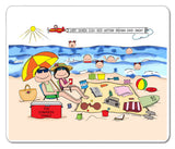 Beach Family Mouse Pad Personalized with 6 Kids