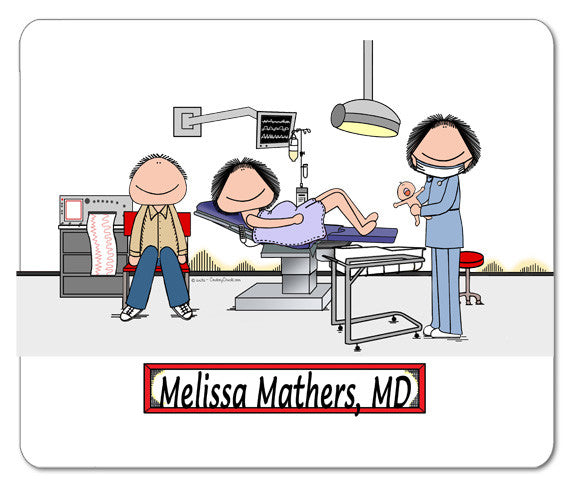 8689 Obstetrician Mouse Pad Female - Personalized