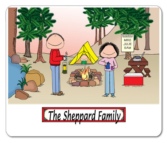 Camping Family Mouse Pad Personalized 1 Kid