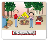 Camping Family Mouse Pad Personalized 3 Kids