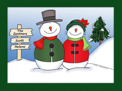 Snowman Couple Cartoon Picture - Personalized 8700
