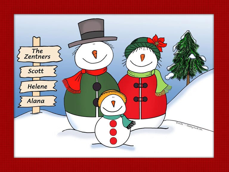 Snowman Family Cartoon Picture