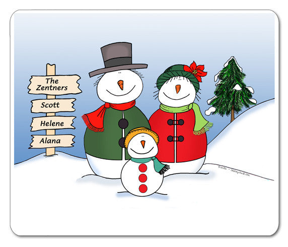 Snowman Family Mouse Pad
