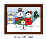 Snowman Family Plaque 1 Kid - Personalized