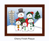 Snowman Family Plaque 3 Kids - Personalized