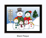 Snowman Family Plaque 4 Kids - Personalized