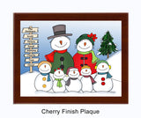Snowman Family Plaque 5 Kids - Personalized