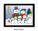 Snowman Family Plaque 6 Kids - Personalized