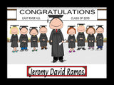 Graduating Class Cartoon Picture Male - Personalized 8716