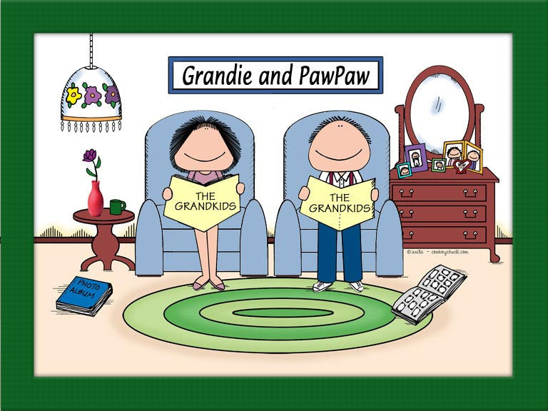 Grandparents Baby Boomer Cartoon Picture Male and Female - Personalized 8724