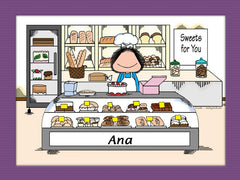 Baker Cartoon Picture Female - Personalized 8729
