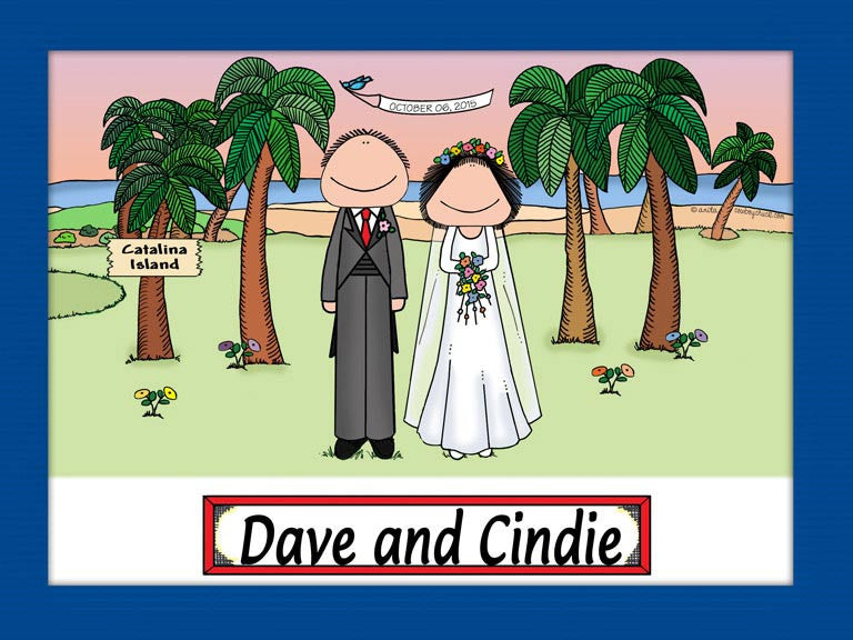 Wedding on the Beach Cartoon Picture