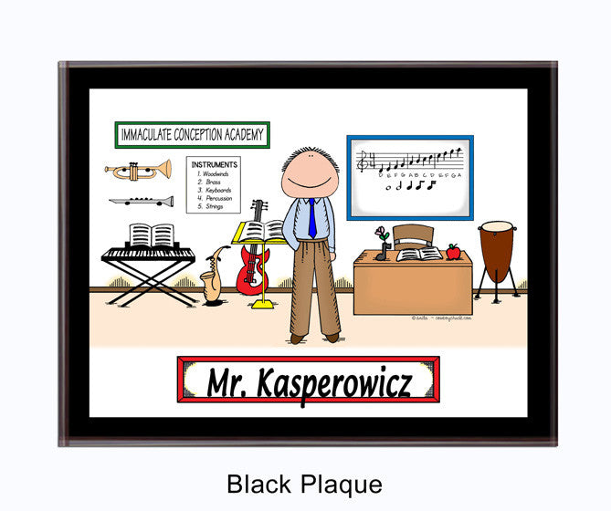 Teacher Music Plaque Male - Personalized