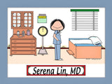 Doctor in Scrubs Cartoon Picture Female - Personalized 8761