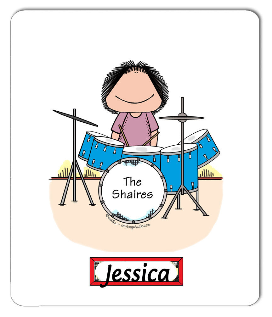 Drummer Mouse Pad Female - Personalized