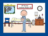 #1 Nurse in Scrubs Cartoon Picture Male - Personalized 8770