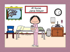 #1 Nurse in Scrubs Cartoon Picture Female - Personalized 8771