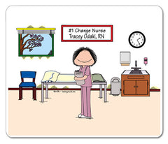 #1 Nurse in Scrubs Mouse Pad Female Personalized