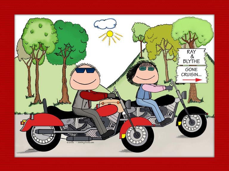 motorcyclists cartoon picture personalized motorcycle gifts