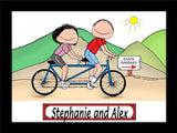 Bicyclists Tandem Cartoon Picture Male and Female - Personalized 8779