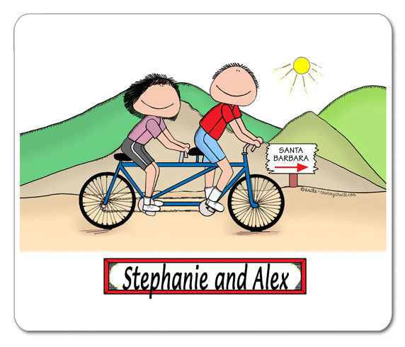 Bicyclists Tandem Mouse Pad Male and Female - Personalized 8779
